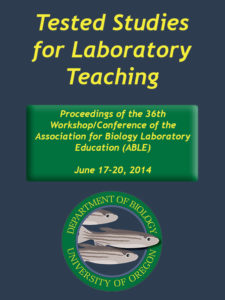 Image of the cover of volume 36 of the ABLE Proceedings; images has the ABLE 2014 logo featuring 3 zebra danio fish