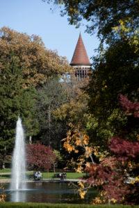 Autumn Campus Scene Orton Hall and Mirror Lake